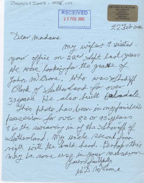Letter from W.D.McCrone