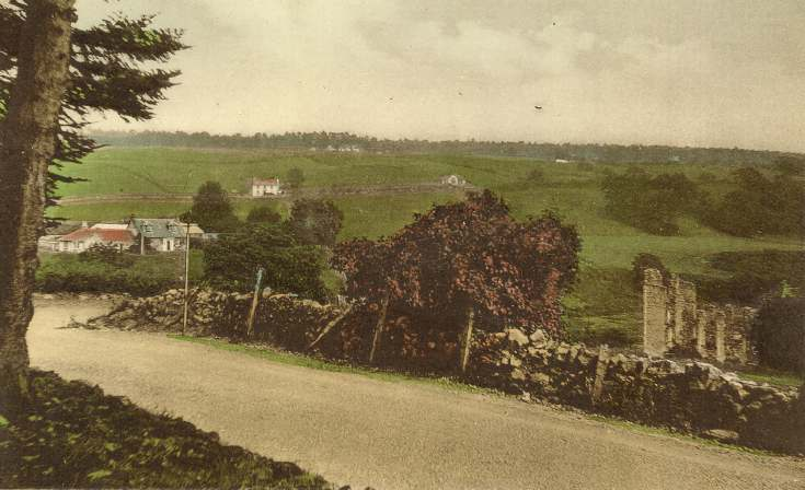 Tinted view of road bend at Spinningdale with ruined mill