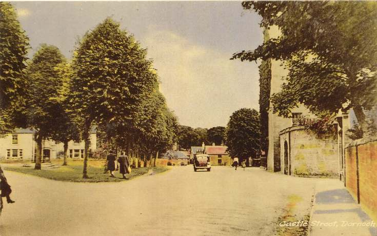 Tinted postcard of Castle Street, Dornoch
