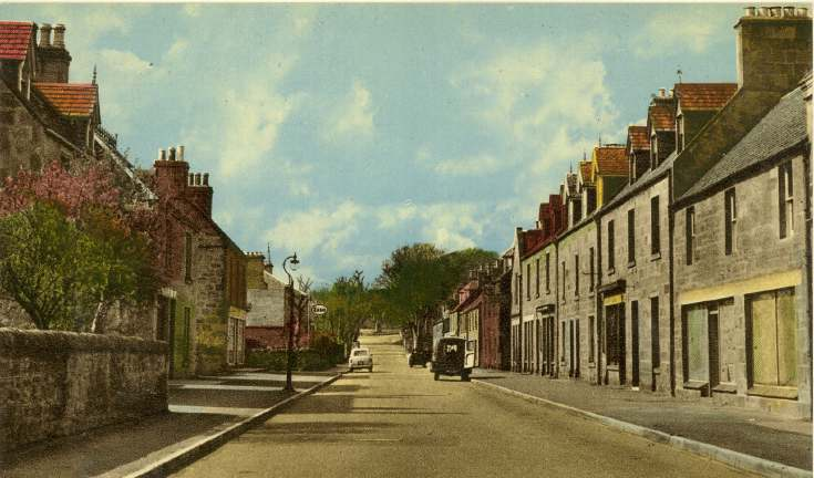 Tinted postcard of Castle Street looking west