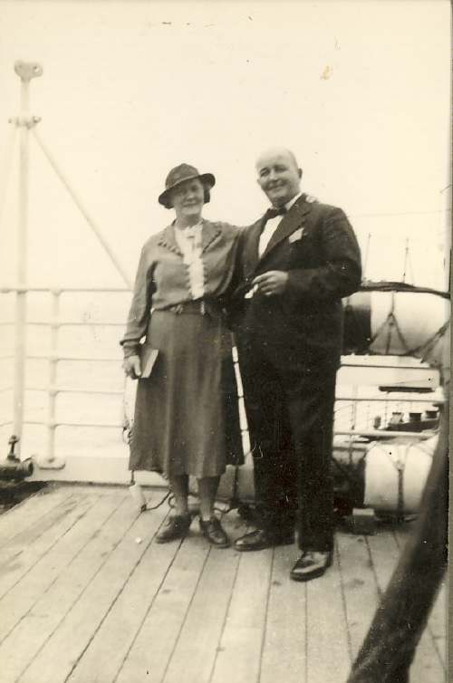 Couple on board a ship c 1930