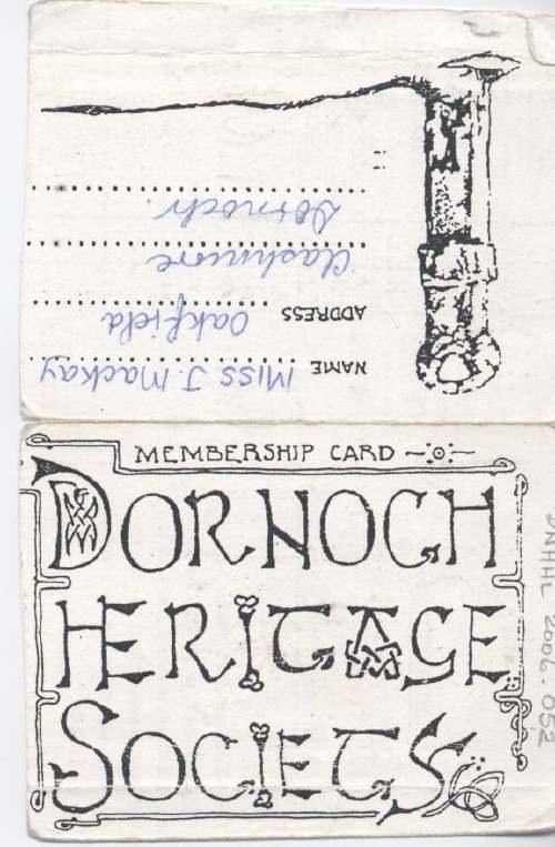 Heritage Society Membership Card