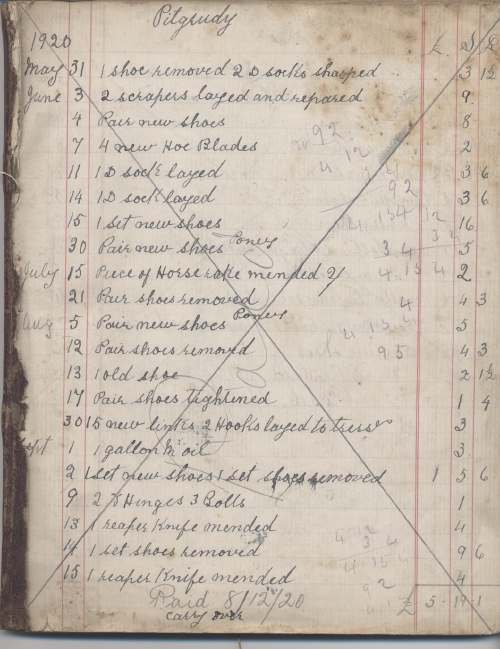 Cash book of William MacKay Blacksmith 1920-23