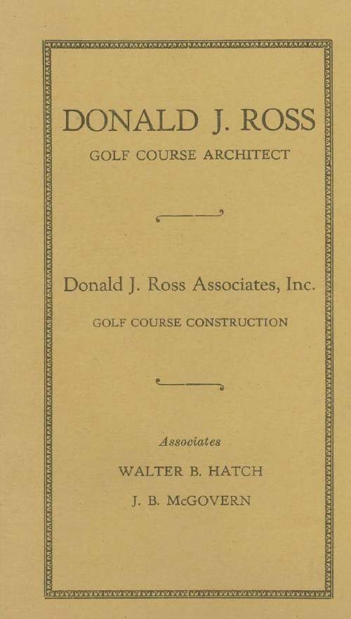 Donald Ross documents - golf courses booklet