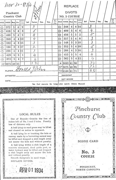 Donald Ross documents - Pinehurst score card