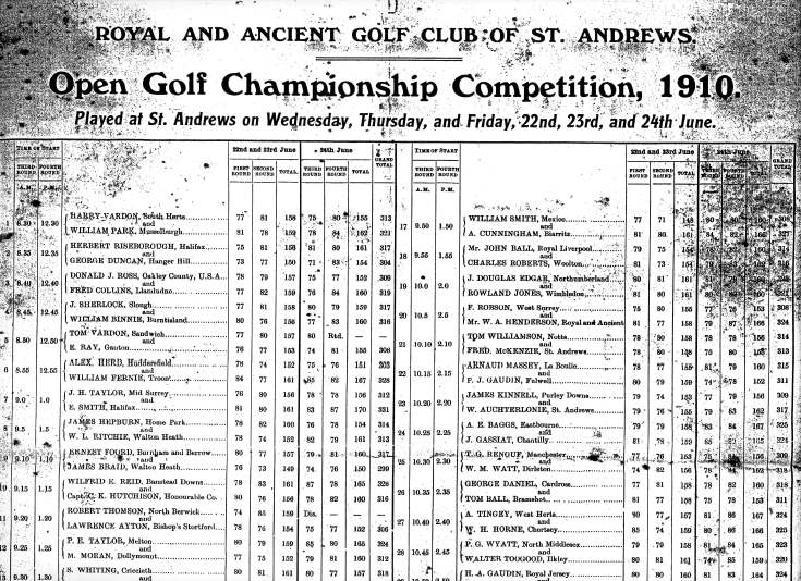 Donald Ross documents - scores for Open Golf Championship at St Andrews