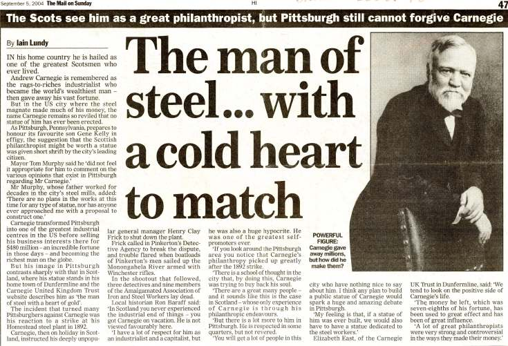 Carnegie 'Man of steel with a cold heart to match'