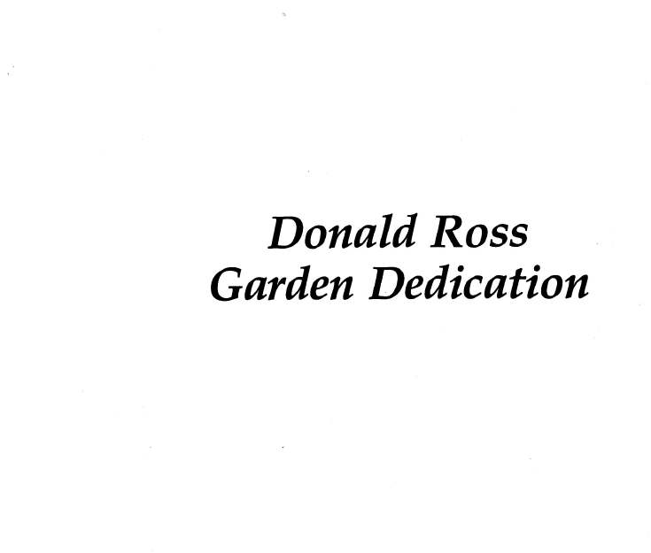 Donald Ross documents - Garden dedication