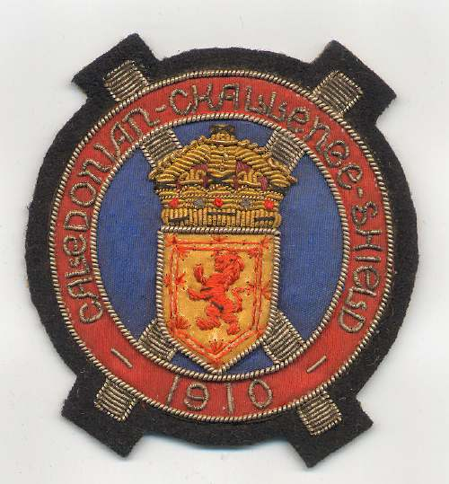 Caledonian Challenge Shield badge - Robert Mackay 1910
