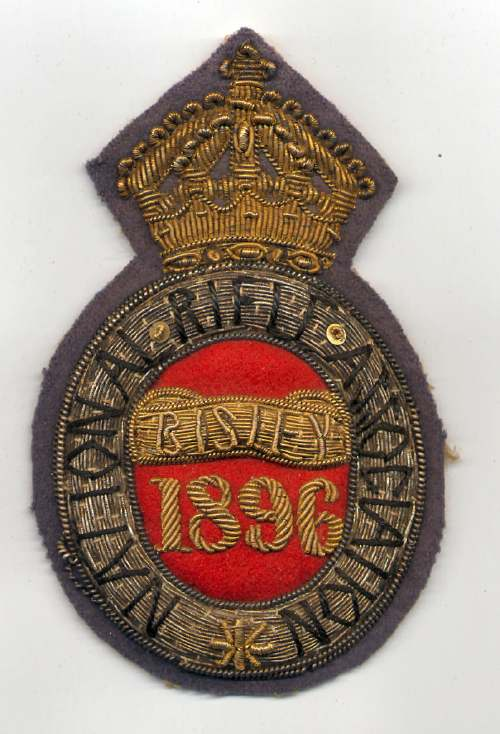 National Rifle Association ~  Bisley badge - Robert Mackay 1896