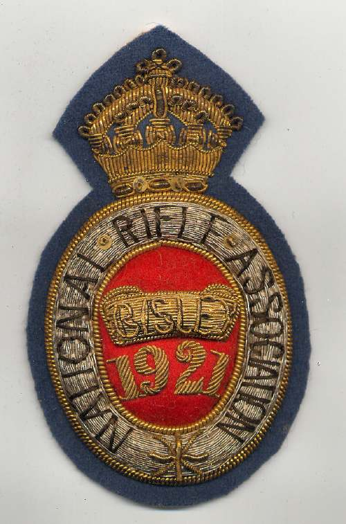 National Rifle Association ~ Bisley badge - Robert Mackay 1921