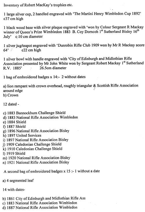 Inventory of trophies, badges and medals of Robert Mackay