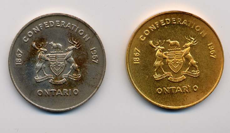 Two Ontario mining medallions