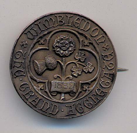 Grand Aggregate Wimbledon badge  - Robert Mackay 1882
