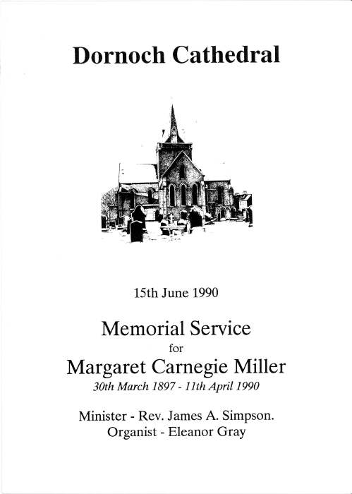 Memorial service Margaret Carnegie Miller, 1990