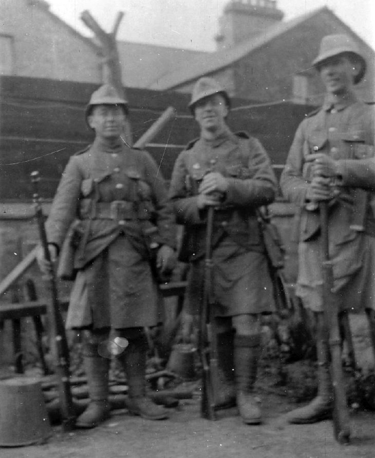 Three soldiers WW1 including Bob Grant