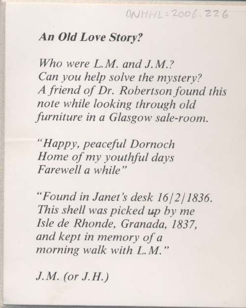 Poem by a relative of Provost Fraser
