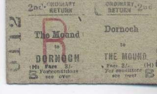 Dornoch/Mound railway ticket 1960