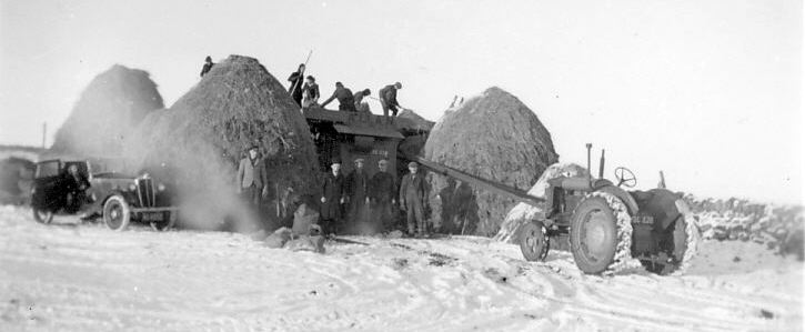 Haystack making in snow at Proncy 1947