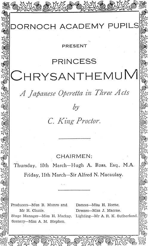 Princess Chrysanthemum light opera, 1938