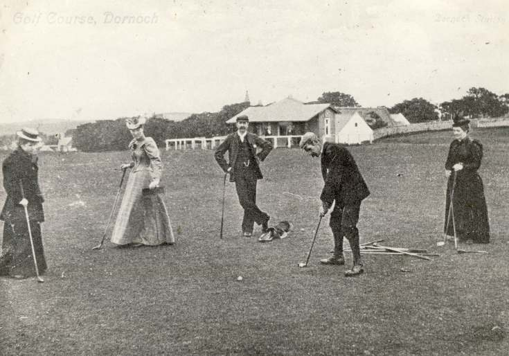Putting on the 18th green 1880s