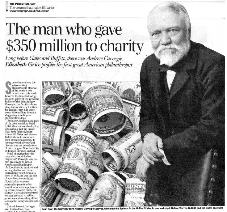 Carnegie the man who gave $350 million to charity