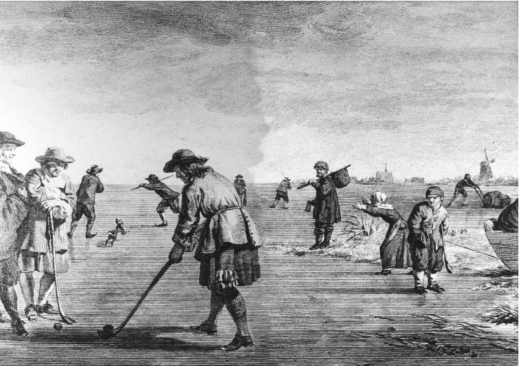 Depiction of early game of golf