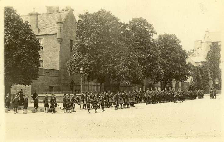 Gordon Highlanders parade in the Square, Dornoch