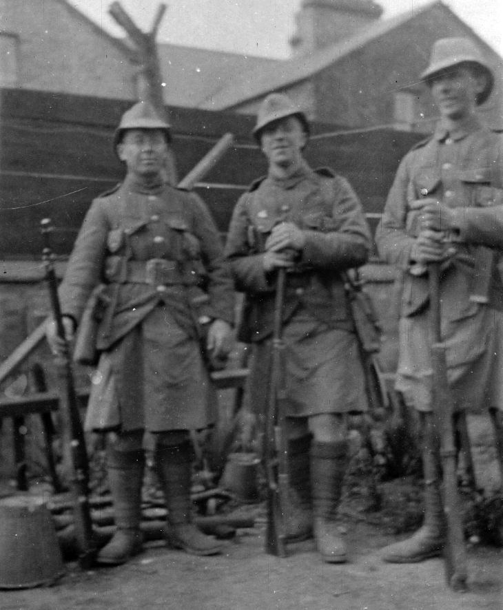 Three soldiers in Seaforth's non-dress uniform