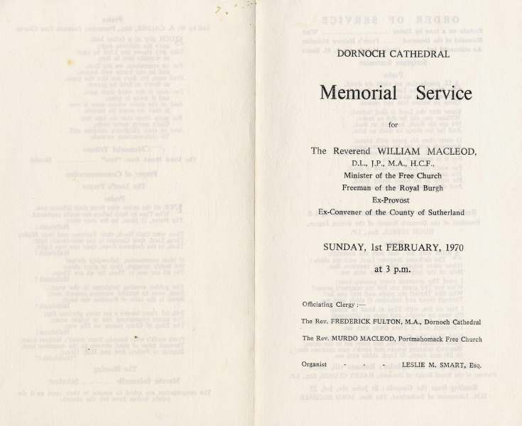 Dornoch Cathedral Memorial Service