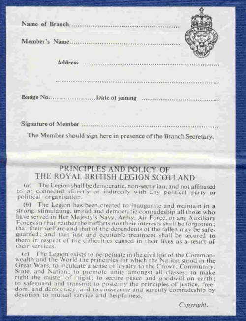 Royal British Legion Membership Card