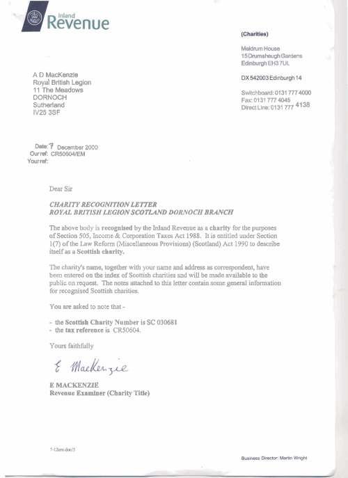 Charity Recognition Letter