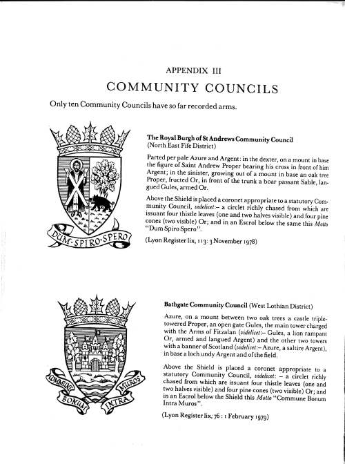Community Councils recorded arms