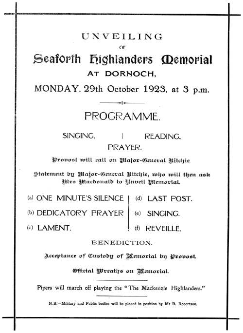 Unveiling of Seaforth Highlanders' Memorial 1923