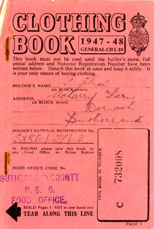 Clothing coupon book 1947/48