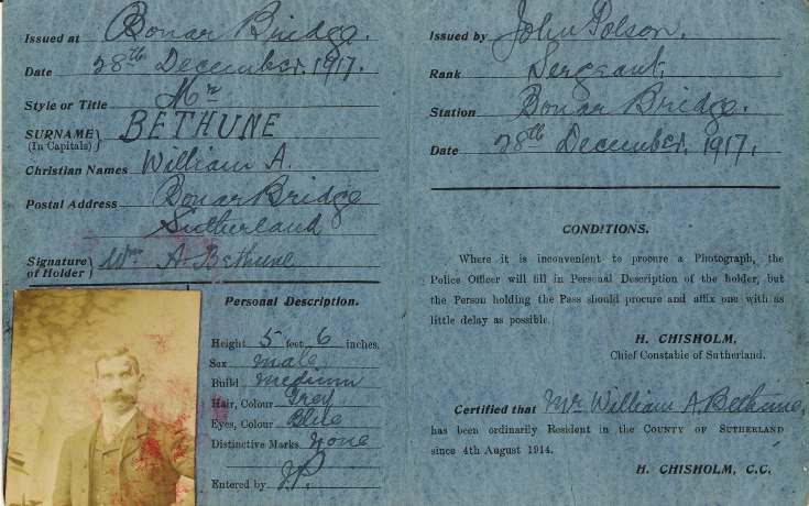 Local Pass /Identification for William Bethune