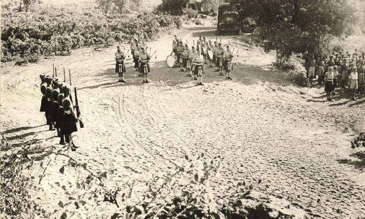 Troops of 51st Division ready for inspection by General Wimberly