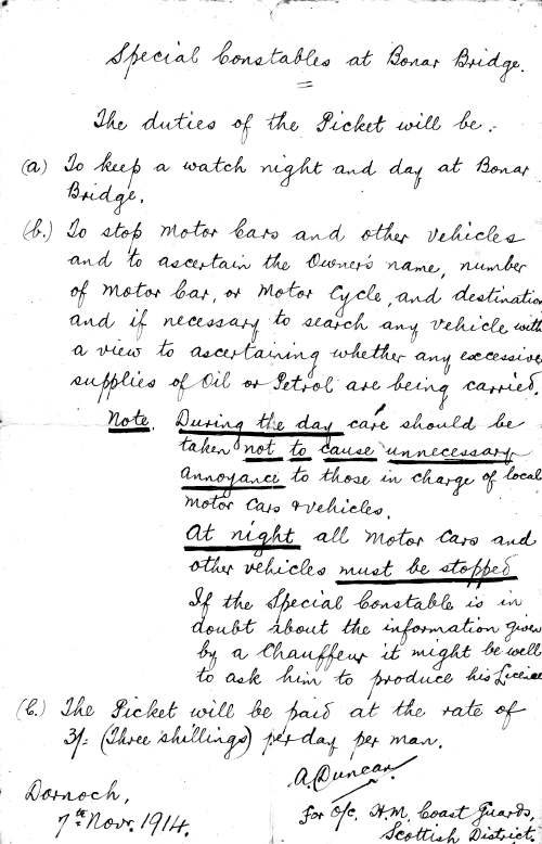 Document giving instructions to Special Constables.