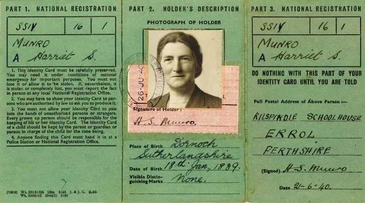 Identity card Harriet Munro