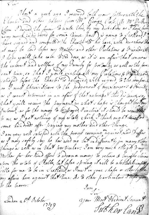 Letter from the Earl of Sutherland 1749