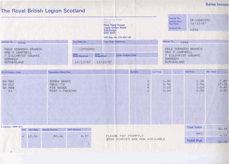 British Legion Scotland Invoices
