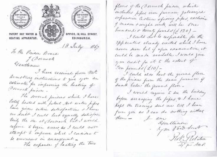 Letter Heating Dornoch Prison