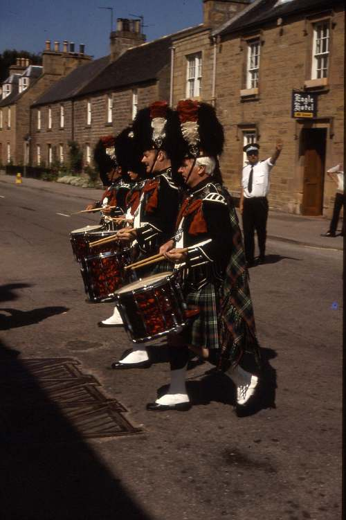 Pipe band outside Eagle Hotel 1985