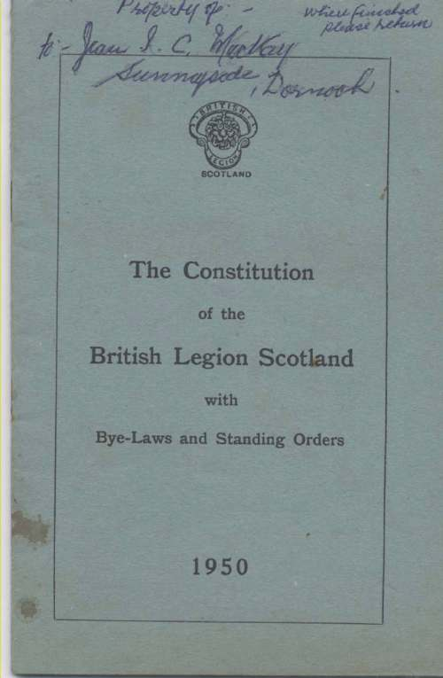 The Constitution of the British Legion Scotland