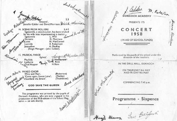 Dornoch Academy School Concert 1958 Programme