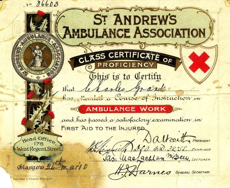 St Andrews Ambulance Association certificate