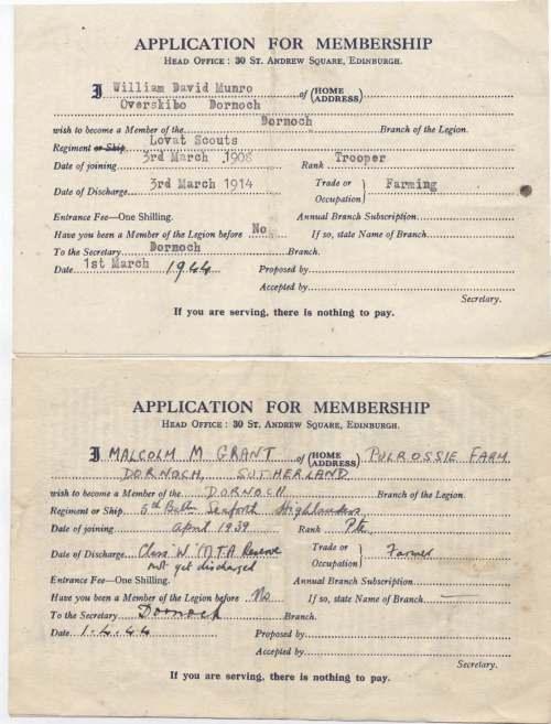 Royal British Legion Application for Membership