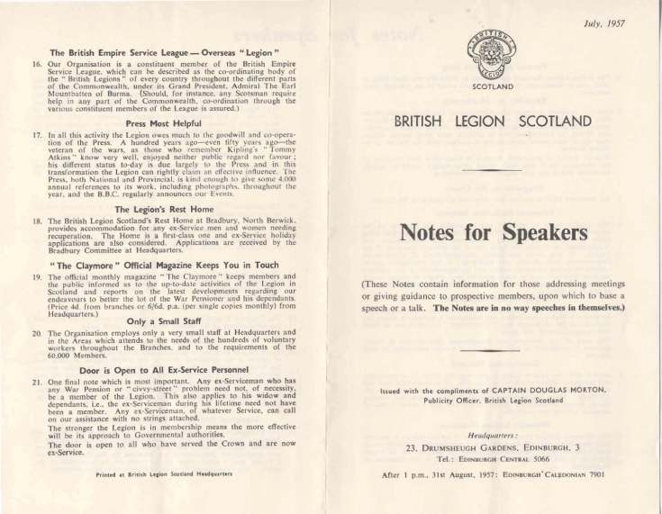 Royal British Legion Scotland Notes for Speakers