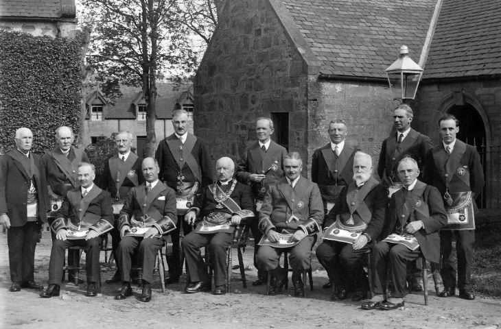 Photograph of Masons at Masonic Building