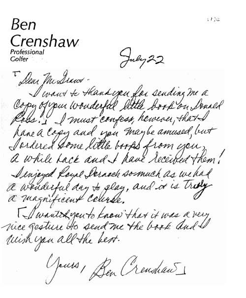 Letter from Ben Crenshaw to Mr Grant
